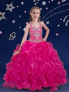 Discount Fuchsia Organza Lace Up Halter Top Sleeveless Floor Length Little Girl Pageant Gowns Beading and Ruffles