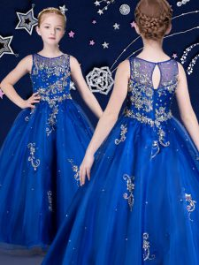 Latest Scoop Sleeveless Beading and Appliques Zipper Little Girls Pageant Dress Wholesale