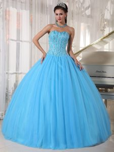 Sky Blue Sweetheart Ball Gown Tulle Quinceanera Dresses with Beading on Promotion