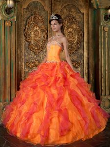 Two-toned Orange Sweetheart Organza Quinceanera Dress with Appliques and Ruffles