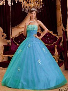 Brand New Aqua Blue Strapless Princess Organza Quinceanera Dresses with Appliques