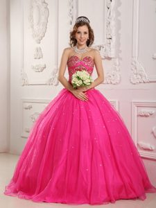 Beautiful Sweetheart Ball Gown Hot Pink Sweet Sixteen Dress with Beading for Cheap