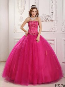 Elegant Strapless Hot Pink Ball Gown Tulle Quinceanera Dress with Beading for Cheap