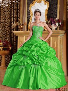 Taffeta Sweet 16 Quinceanera Dress with Appliques and Pick-ups in Spring Green