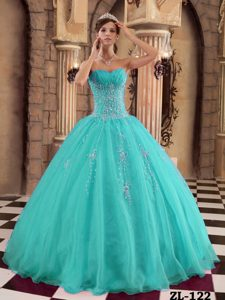 Aqua Blue Sweetheart Sweet Sixteen Quinceanera Dresses with White Appliques