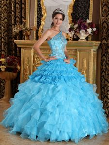 Aqua Blue Ball Gown One Shoulder Sweet 16 Dresses with Ruffles and Appliques