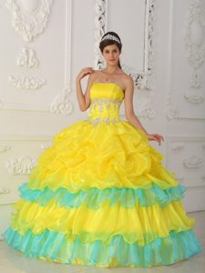 Appliqued Organza Sweet 15 Dress with Ruffled Layers in Yellow and Aqua Blue