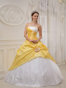 Strapless Beaded Quinceanera Dress with Hand Made Flower in Yellow and White