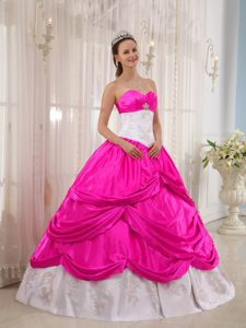 Clearance Hot Pink and White Quinceaneras Dress with Appliques and Pick-ups