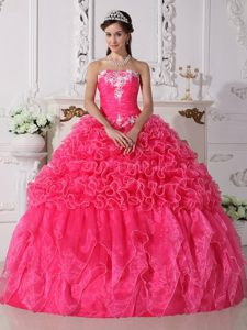 Hot Pink Ball Gown Strapless Quinceanera Gown Dress Embroidery and Ruffles