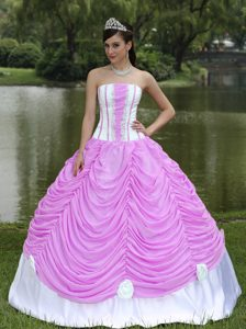 White and Purple Appliqued Quince Gown with Ruches and Handmade Flowers