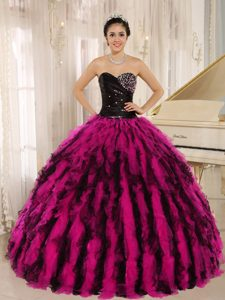 Pretty Black and Fuchsia Ruffled Sweet 16 Dresses with Beadings and Ruches