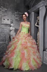 Lovely Ball Gown Strapless Quinceanera Dresses with Ruffles in Ombre Color