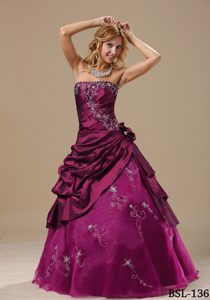 Wine Red Embroidered Taffeta Quinceanera Dress with Pick-ups and Flower on Sale