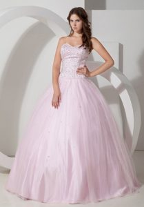 Baby Pink Sweetheart Ball Gown Tulle Sweet Sixteen Dress with Beading for Cheap
