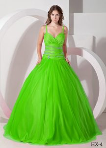 Spring Green Spaghetti Straps Ruched Tulle Quinceanera Dresses with Beaded Waist
