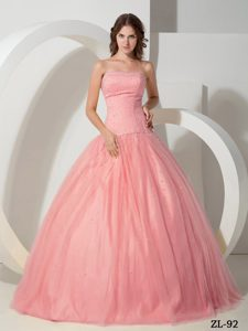 Watermelon Strapless Floor-length Tulle Sweet 16 Dress with Beading on Promotion