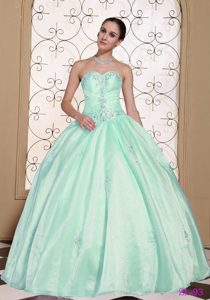 Light Blue Sweetheart Ball Gown Organza Sweet 15 Dress with Beading on Promotion