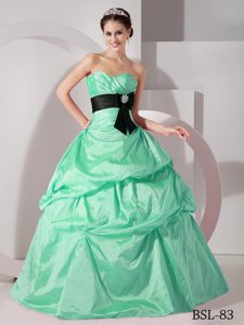 Aqua Blue Sweetheart Ruched Taffeta Quinceanera Dress with Pick-ups and Bowknot