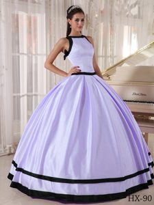 Pretty Lilac and Black Ball Gown Bateau Taffeta Sweet 16 Quinceanera Dress on Sale