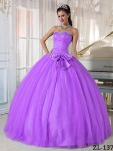 Lavender Sweetheart Ball Gown Beaded Tulle Quinceanera Dress with Bow for Cheap