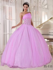 Baby Pink One-shoulder Ball Gown Ruched Organza Quinceanera Dress with Beading
