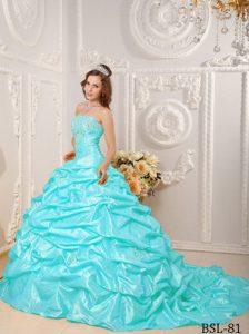 Aqua Blue Strapless Brush Train Taffeta Appliqued Quinceanera Dress with Pick-ups