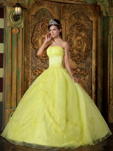 Cheap Bright Yellow Strapless Organza Quinceanera Dress with Appliques in Fashion