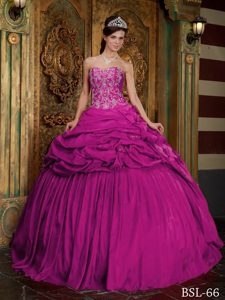 Fuchsia Sweetheart Ball Gown Taffeta Appliqued Quinceanera Dresses with Pick-ups