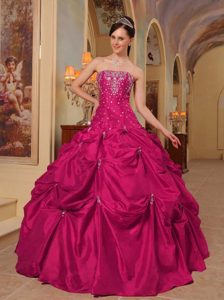 Coral Red Strapless Floor-length Taffeta Appliqued Quinceanera Dress with Pick-ups