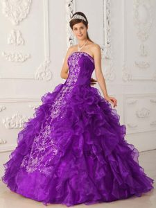 Purple Strapless Floor-length Organza Dress for Quince with Embroidery and Ruffles