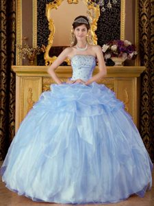 Baby Blue Strapless Beaded Organza Ball Gown Sweet Sixteen Dress with Pick-ups