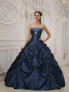 Navy Blue Strapless Ball Gown Taffeta Quinceanera Dress with Pick-ups and Beading