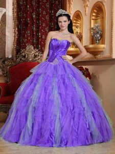 Lavender Sweetheart Tulle Floor-length Quinceanera Dress with Appliques for Cheap