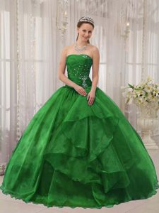 Green Strapless Organza Ball Gown Quinceanera Dresses with Beading on Promotion