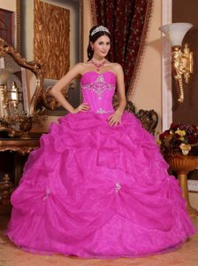 Cheap Hot Pink Sweetheart Organza Quinceanera Dress with Pick-ups and Appliques