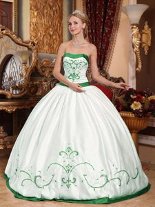 White Taffeta Strapless Ball Gown Quinceanera Dress with Green Embroidery on Sale