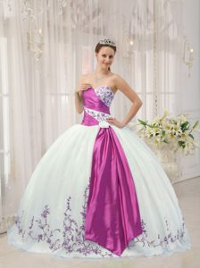 Best Sweetheart White and Lavender Ball Gown Quinceanera Dress with Embroidery