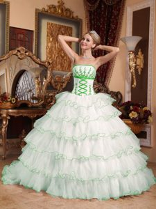 White Strapless Floor-length Organza Quinceanera Dress with Ruffles and Appliques