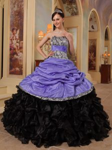 Strapless Purple Taffeta Black Organza Quinceanera Dress with Pick-ups and Zebra