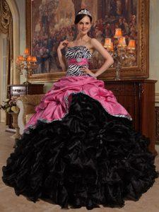 Pink Taffeta and Black Organza Zebra Quinceanera Dress with Ruffles and Pick-ups