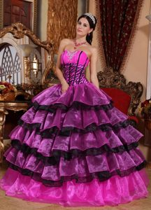 New Hot Pink and Black Sweetheart Beaded Organza Quinceanera Dress with Layers