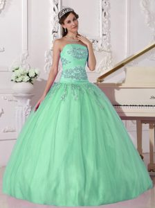 Strapless Apple Green Taffeta and Tulle Quinceanera Dress with Appliques for Cheap