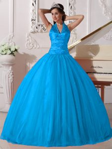 Sky Blue Halter V-neck Floor-length Tulle Sweet 16 Quinceanera Dress with Beading