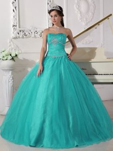 Turquoise Beaded and Ruched Lace-up Sweet Sweet 16 Dress under 250