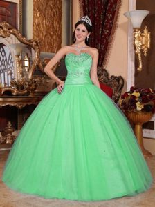 Elegant Sweetheart Ruched Tulle and Taffeta Sweet 15 Dresses in Green
