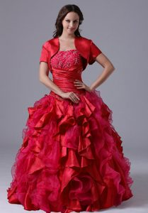 Red Ruffled Lace-up Impressive Quinceanera Gown Dresses with Ruches
