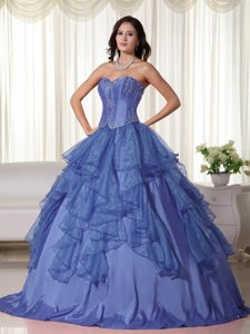 Attractive Sweetheart Embroidered Organza Quinceanera Gowns in Blue