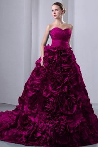 Classical Fuchsia Princess Brush Train Taffeta Ruched Dresses for Quince