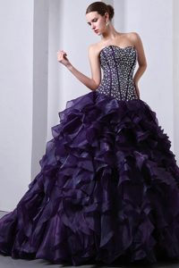 Popular Sweetheart Brush Train Ruffled Lace-up Sweet 16 Dress in Purple